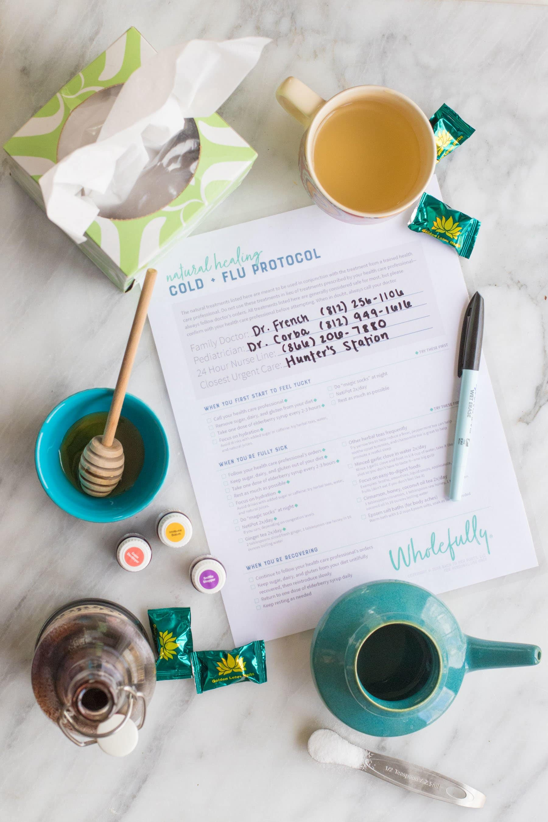 Cold and Flu Home Remedies - Printable