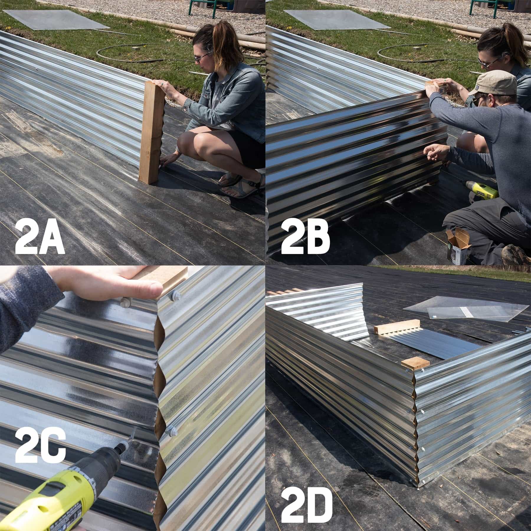 Four image collage of building the second and third sides of a galvanized steel raised bed