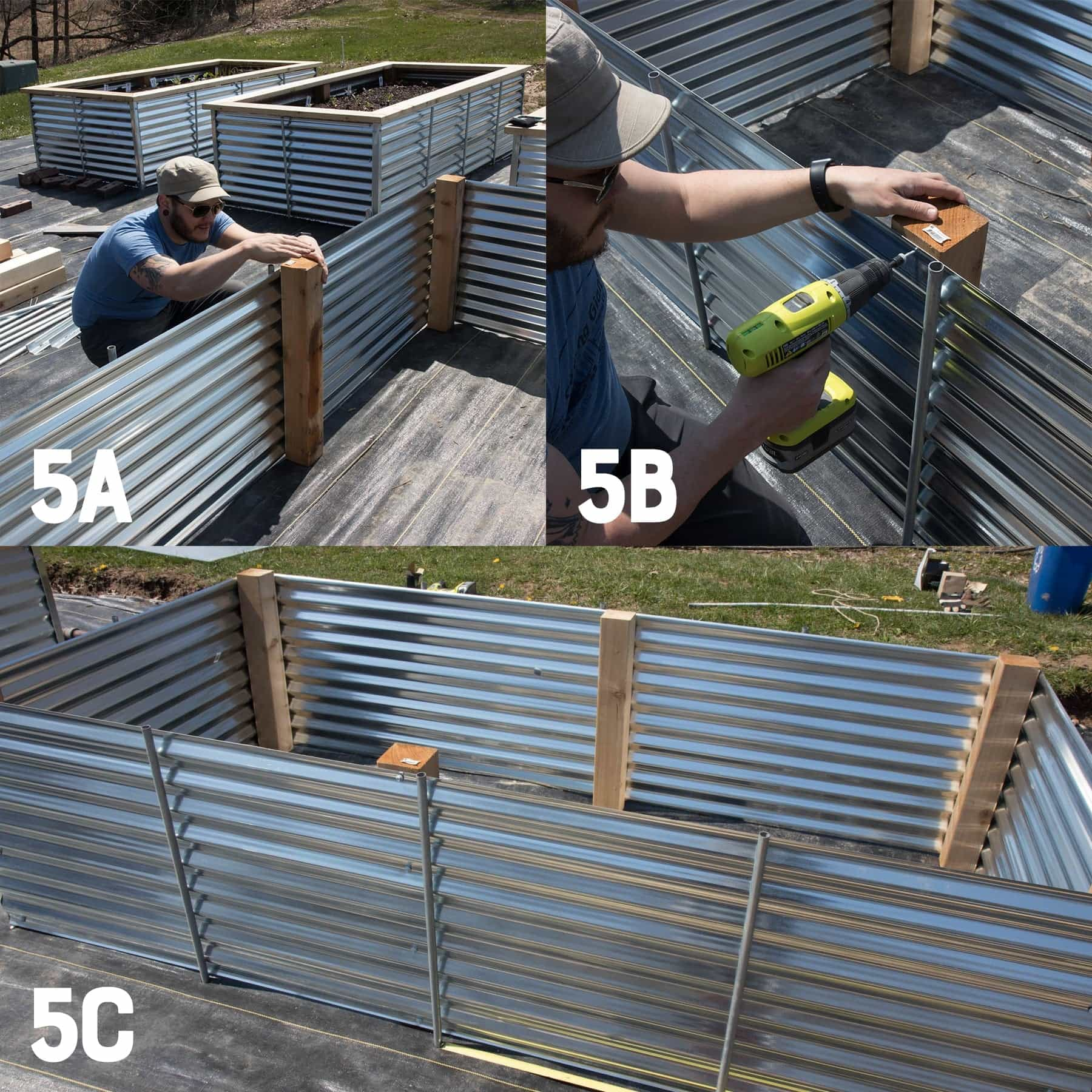 Three image collage of reinforcing a galvanized steel raised bed with conduit and cedar