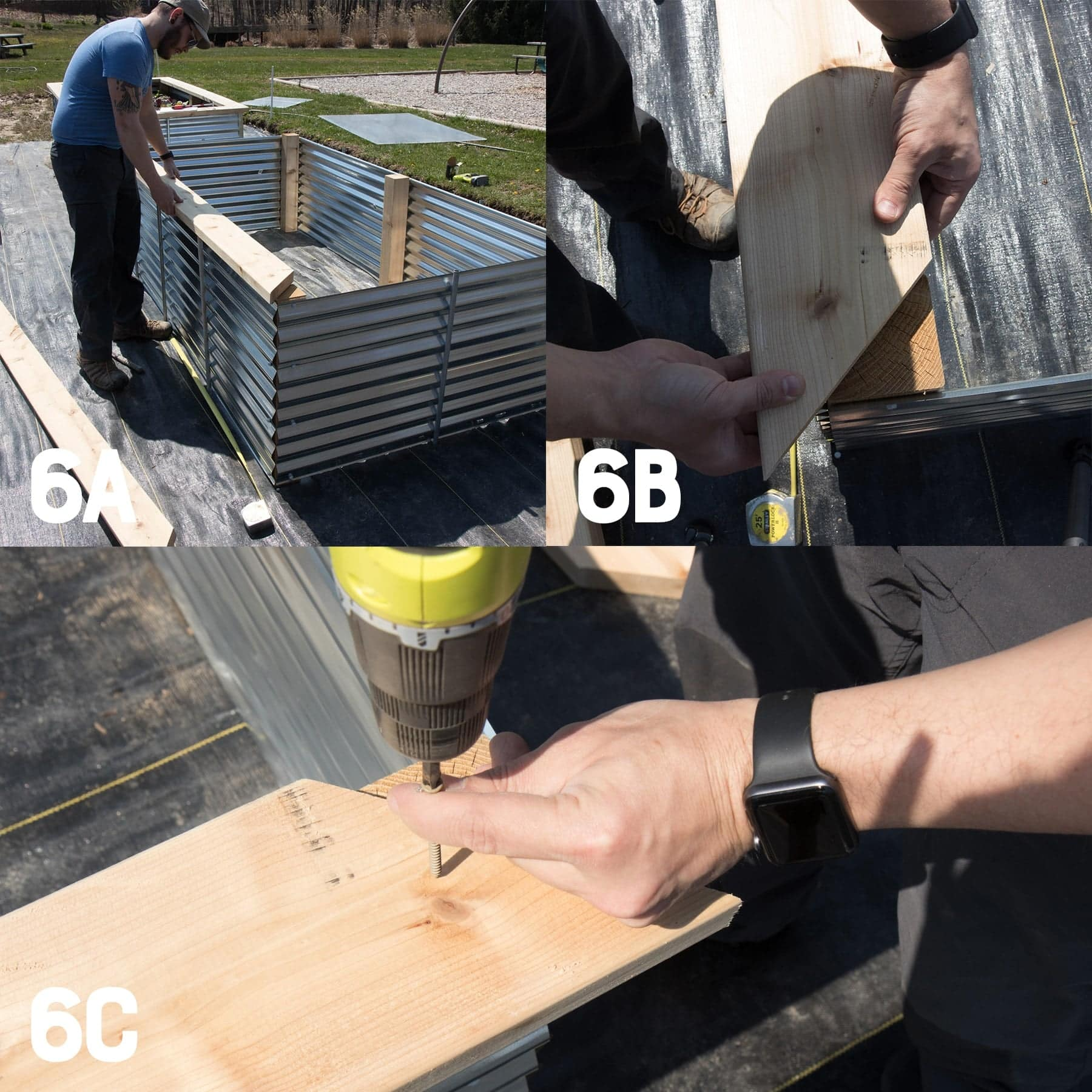 Three image collage of attaching a cedar top to a galvanized steel raised bed