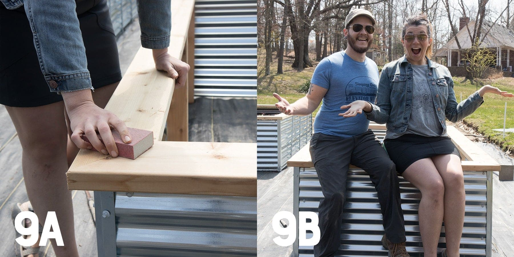 Two image collage of sanding a galvanized steel raised bed and two people sitting on the edge of a finished raised bed
