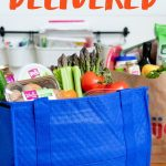 Meijer Home Delivery bags filled with groceries, with a text overlay