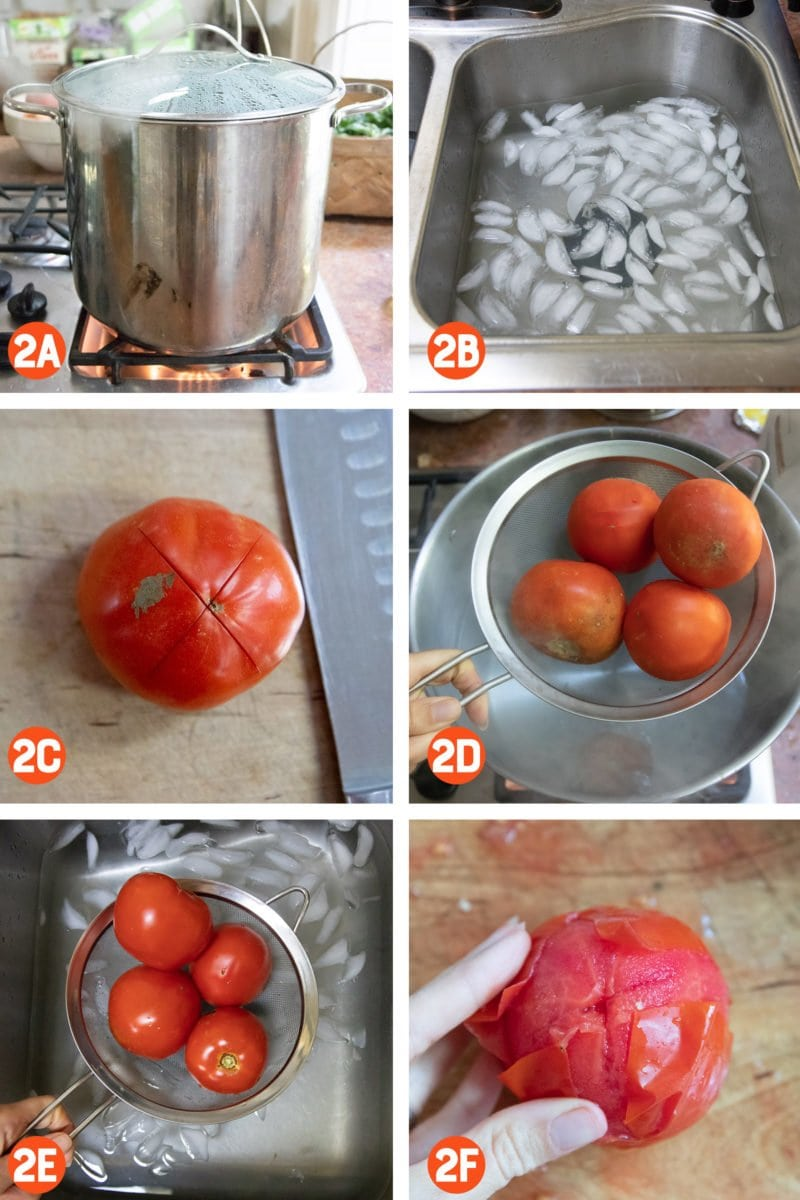 Collage of photos of peeling tomatoes