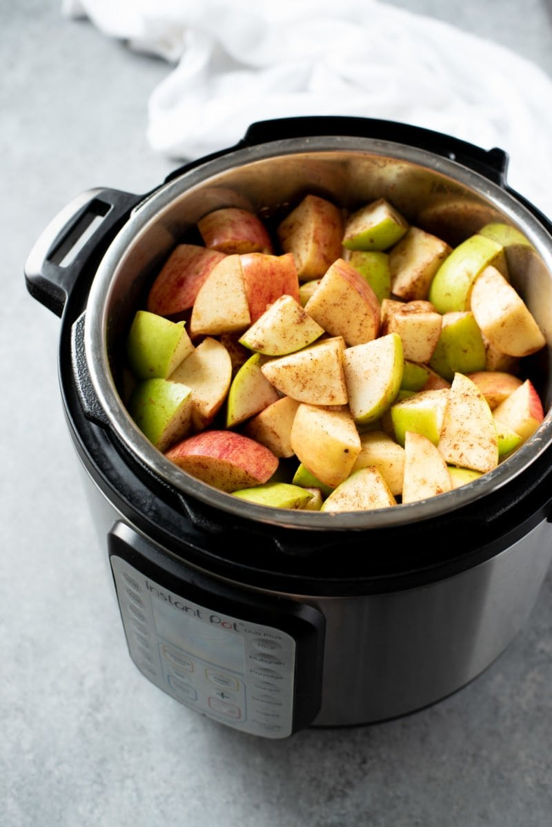 Cut apples in an Instant Pot basin