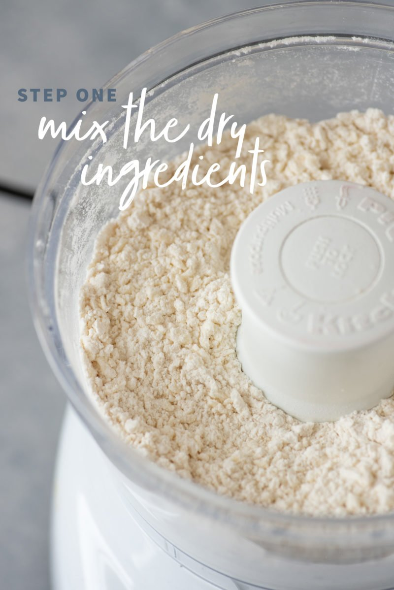 Dry ingredients for pie crust in the bowl of a food processor