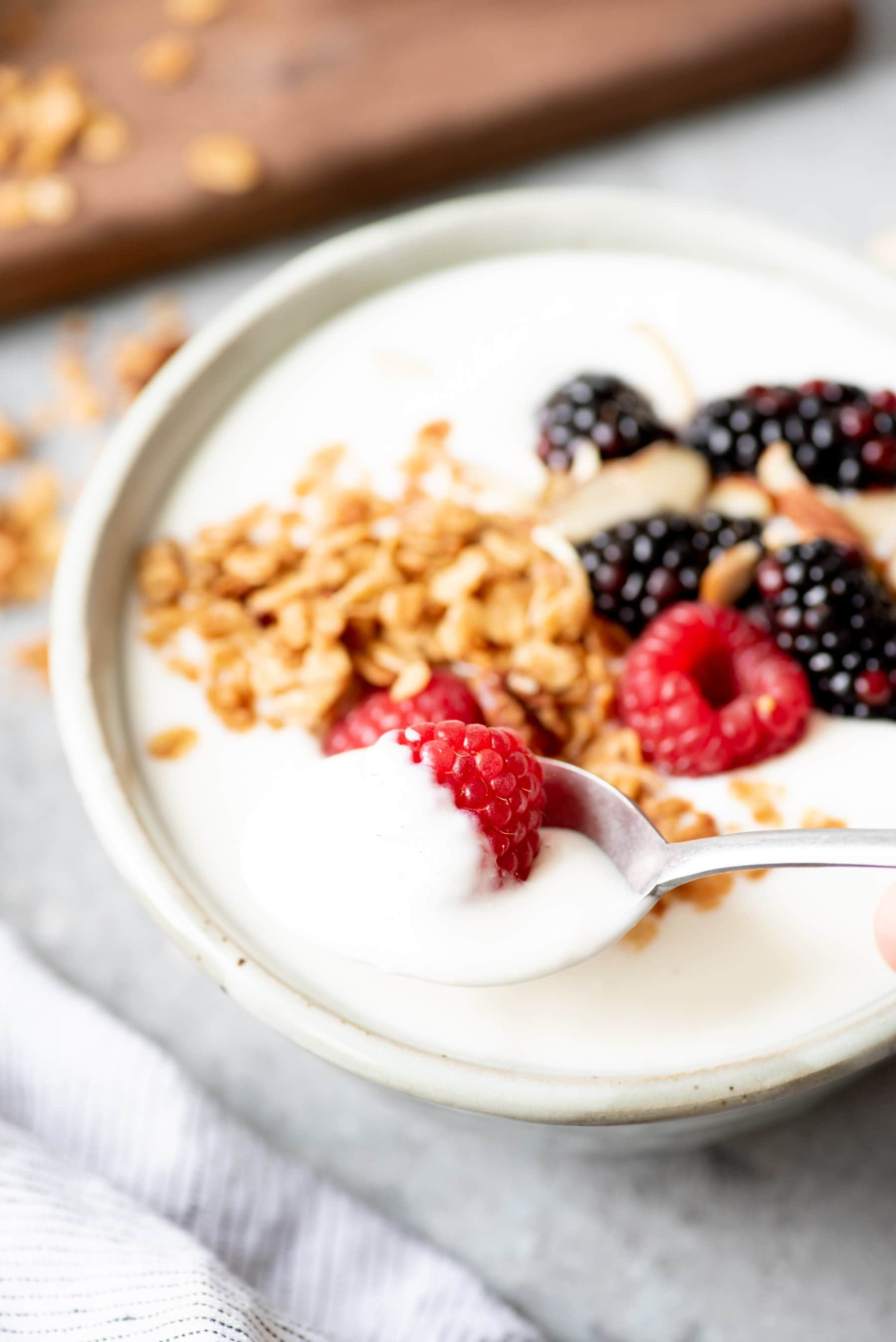 Spoon dipping into a bowl of 24-hour yogurt topped with granola and berries