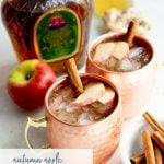 Autumn Apple Kombucha Whiskey Moscow Mule in hammered copper mugs with apple slices and a cinnamon stick floating on top, with the ingredients for the drink behind the cups. Text overlay lists the name of the drink.