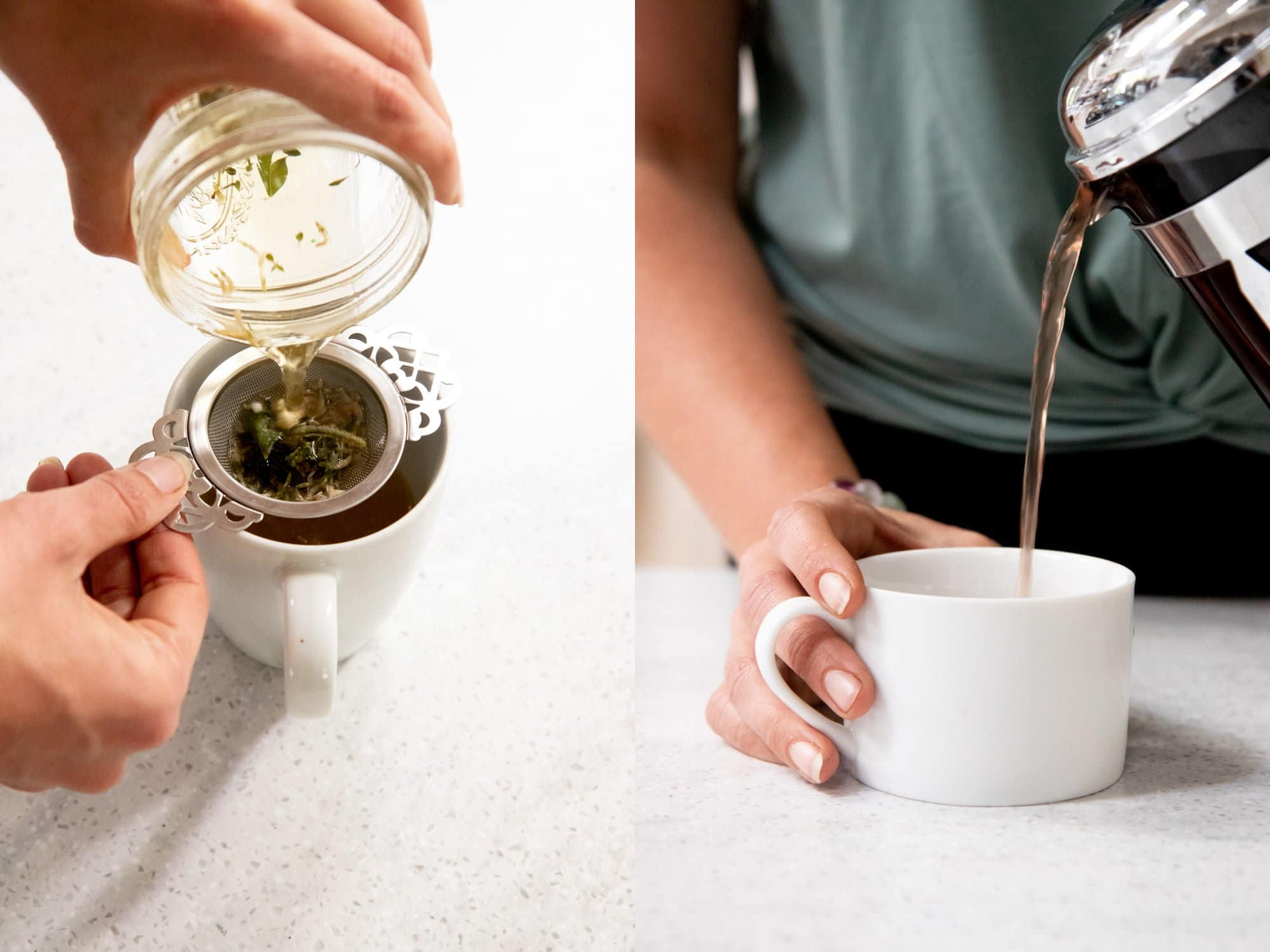Side-by-side shot of herbal tea being strained. On the left, tea is being poured from a mason jar and through a strainer. On the right, tea is being poured from a French press.
