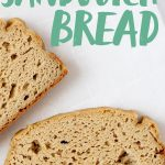"Two slices of Grain-Free Sandwich Bread on a white background. Text overlay reads ""Grain Free Blender Sandwich Bread."""