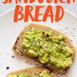 "Two slices of Grain-Free Sandwich Bread topped with avocado on a white plate. Text overlay reads ""Grain-Free Blender Sandwich Bread."""