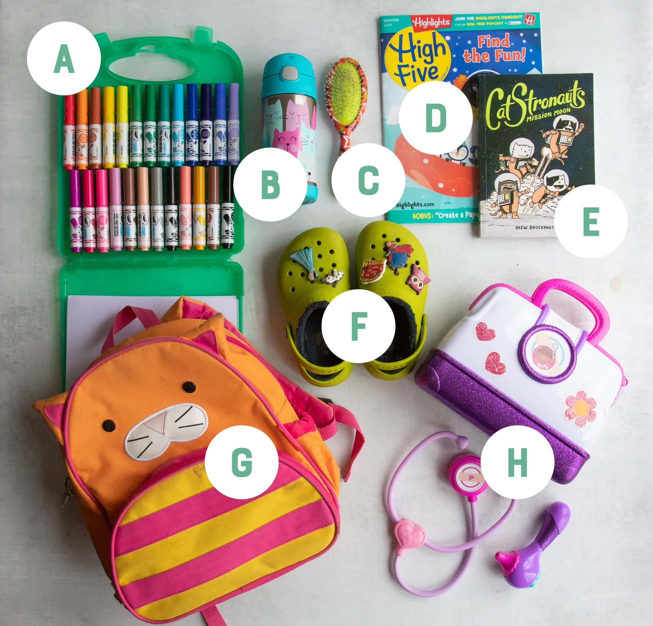 Kid gift ideas arranged on a gray backdrop and labeled with letters: markers, Crocks, books, magazines, a backpack, a water bottle and a hair brush.