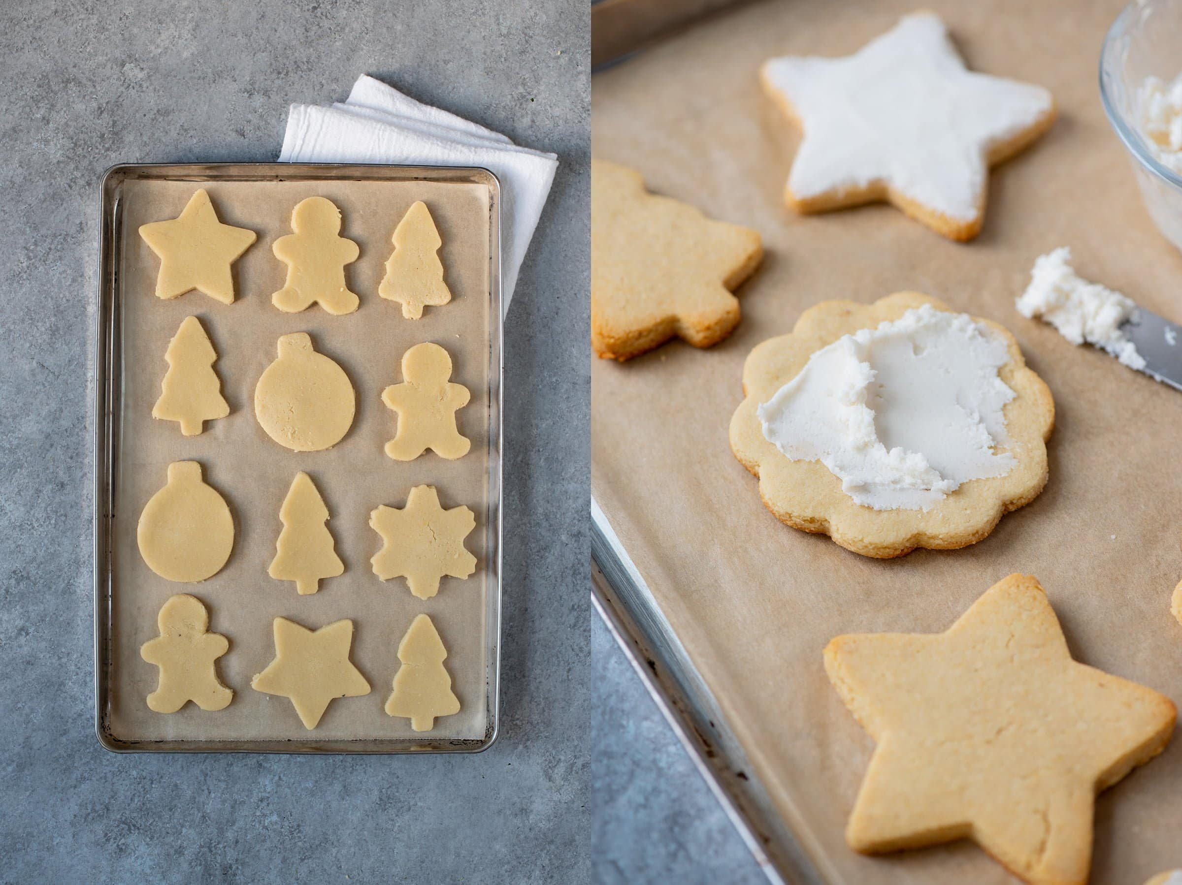 Split shot. On the left, cut-out cookie dough shapes on a baking sheet. On the right, baked cookies being frosted.