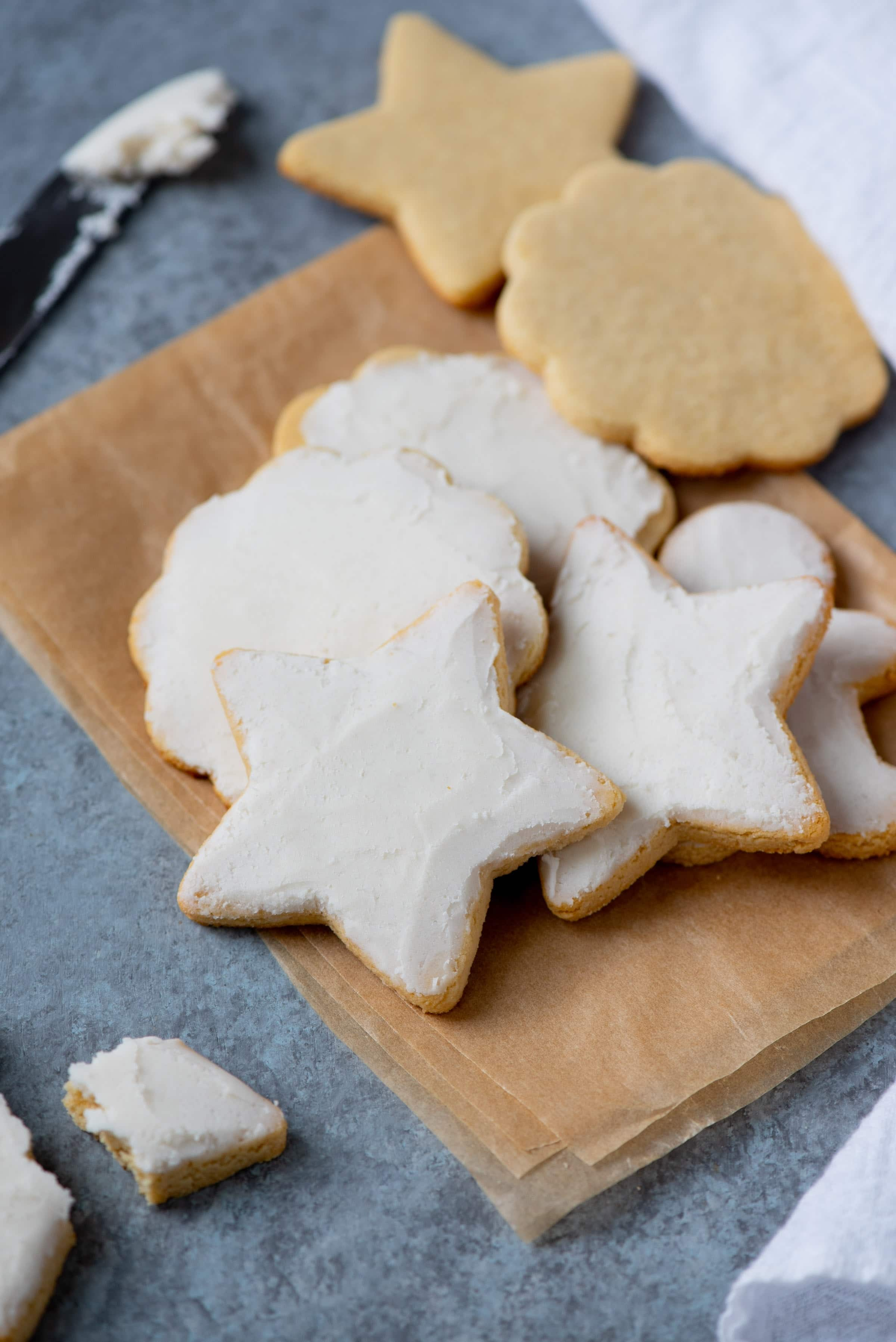 Grain-free paleo sugar cookies with coconut butter frosting