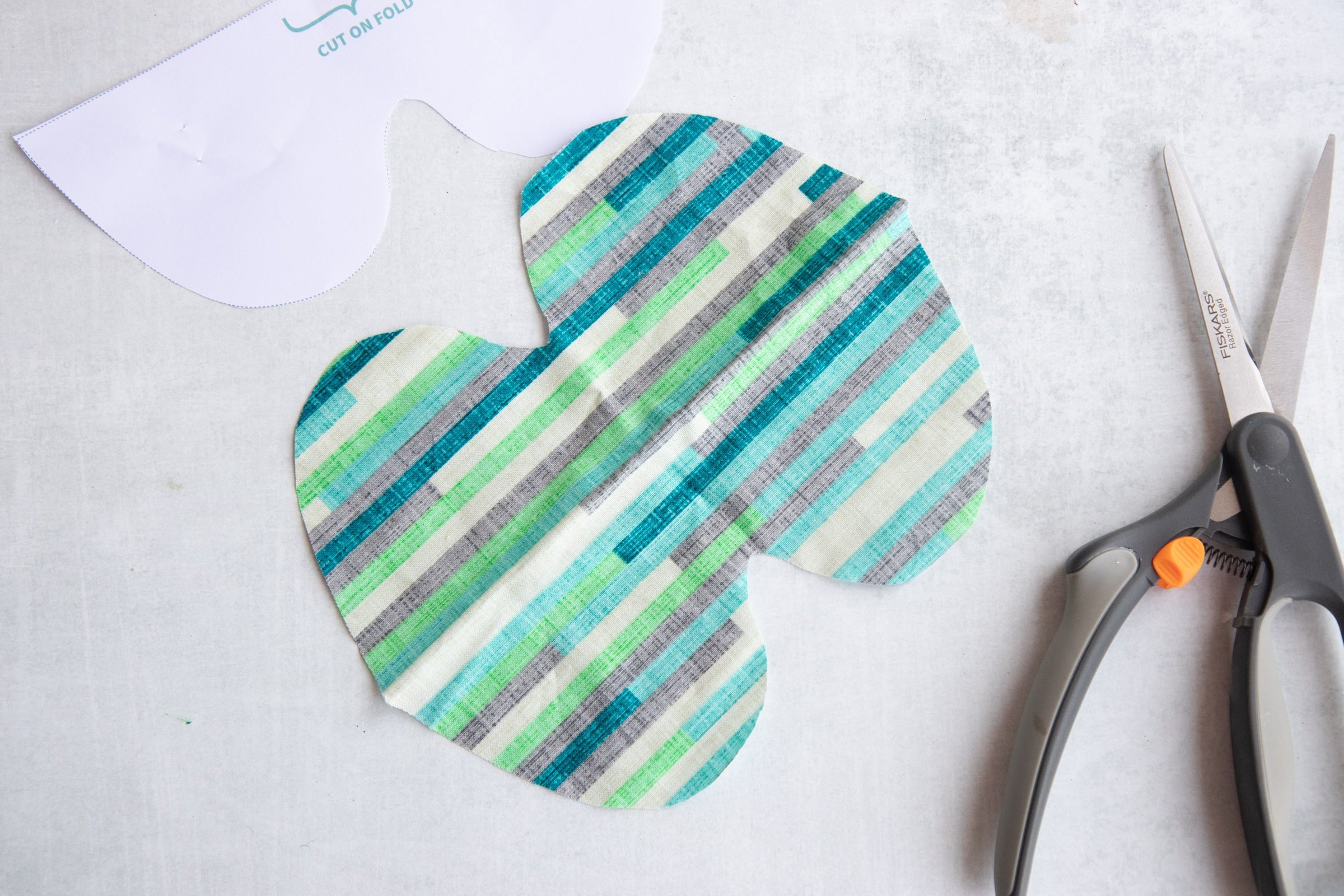 Piece of fabric cut for Soothing Headache Eye Masks and unfolded
