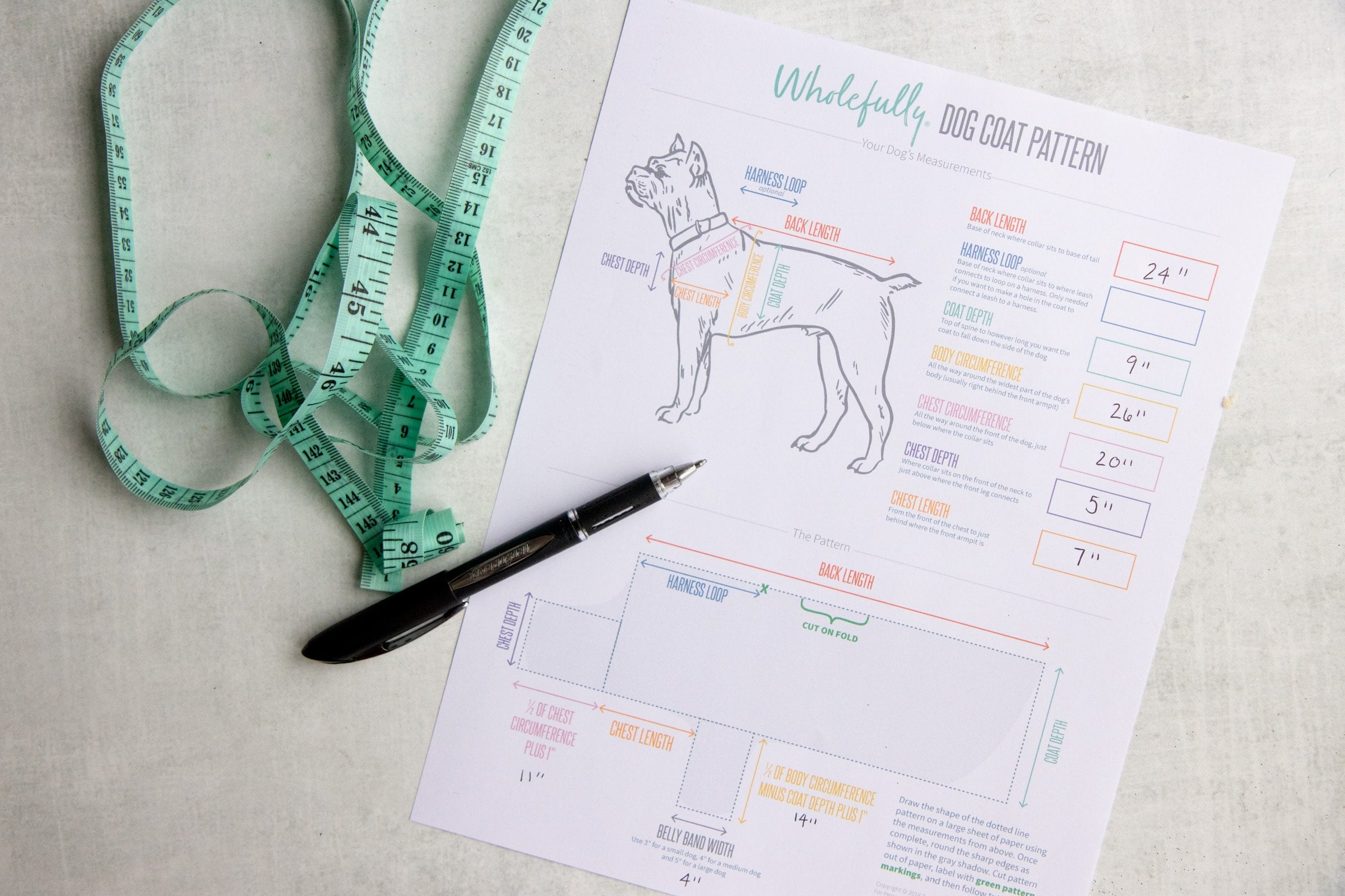 Measuring tape and pen on top of a measurements printout for a Wholefully Dog Coat Pattern