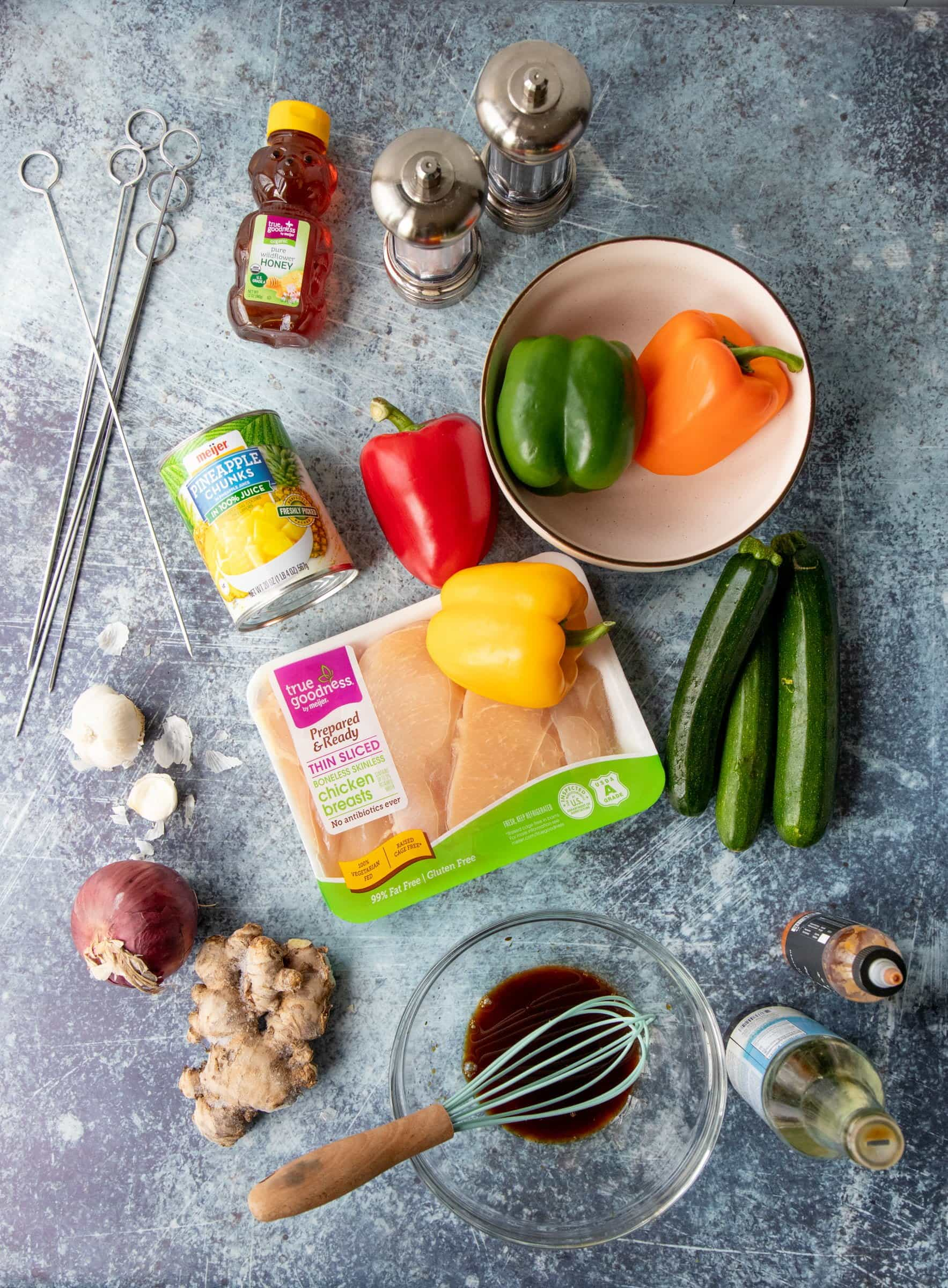 Ingredients for Grilled Chicken Kabobs - vegetables, chicken, pineapple, ginger, onion, honey, metal skewers
