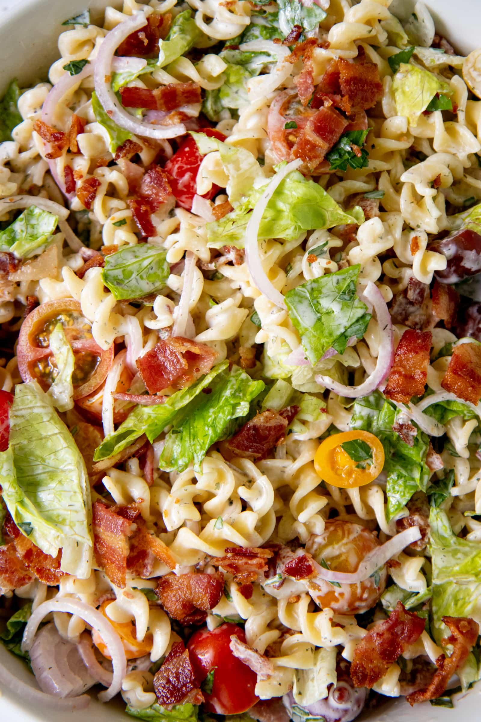 Close up of a Ranch BLT Pasta Salad