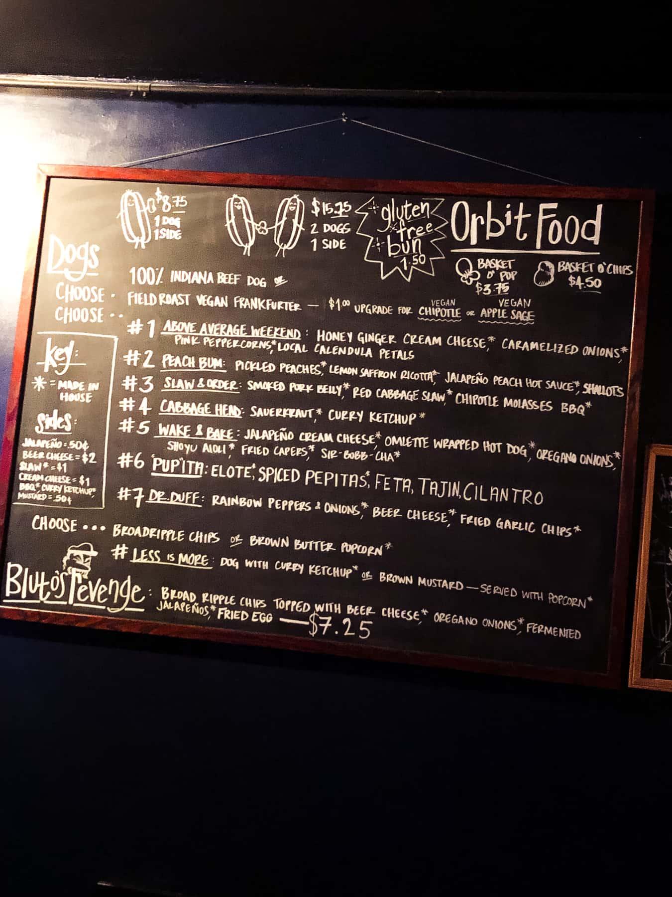 Chalkboard menu hanging up at the Orbit Room in Bloomington, Indiana.