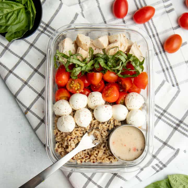 Meal Prep Caprese Chicken Quinoa Bowl Recipe