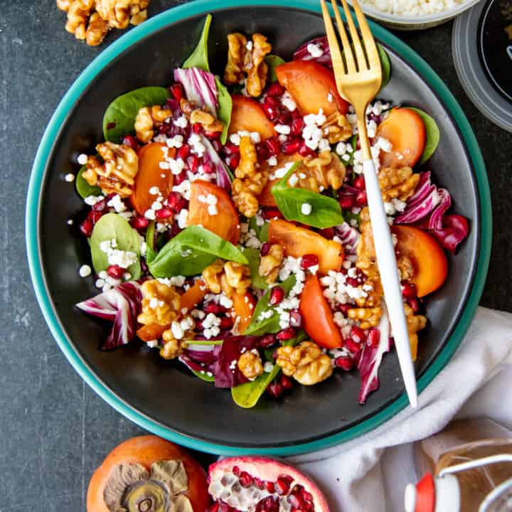 Persimmon and Pomegranate Salad with Maple Vinaigrette and Candied Walnuts