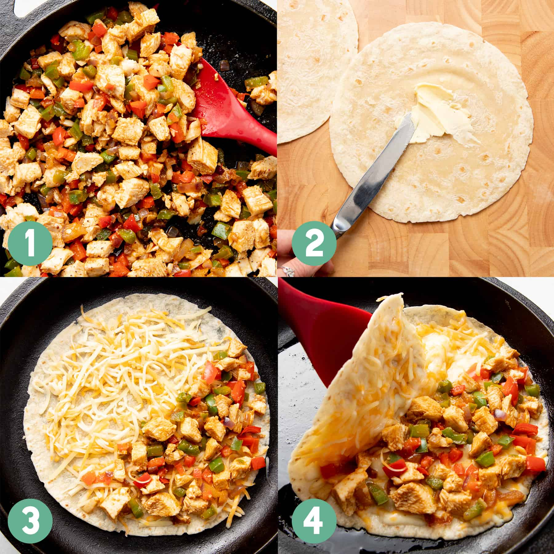 Split image showing the 4 steps of making a quesadilla- cooking the filling, buttering the tortilla, cooking in a cast iron skillet, and folding the tortilla in half.