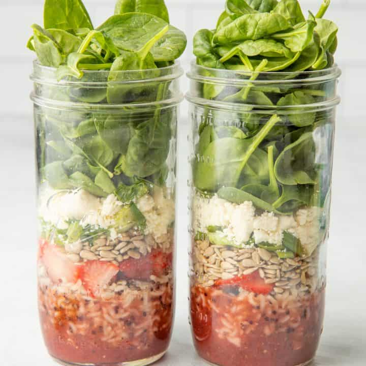 Strawberry Spinach Salad in a Jar