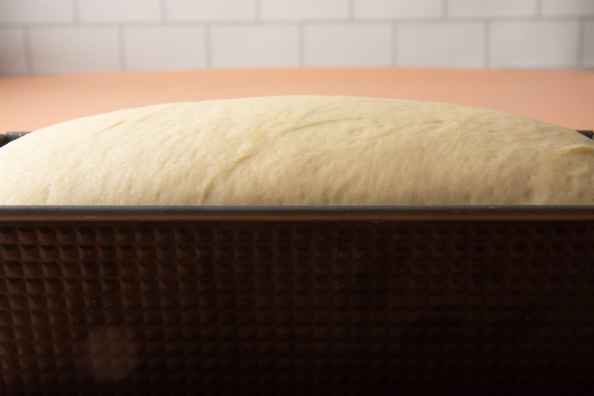 Dough in a loaf pan rises out above the edge.