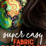"A woman wears the finished face mask. A text overlay reads ""Super Easy Fabric Face Mask. Pattern + Photo Tutorial."""