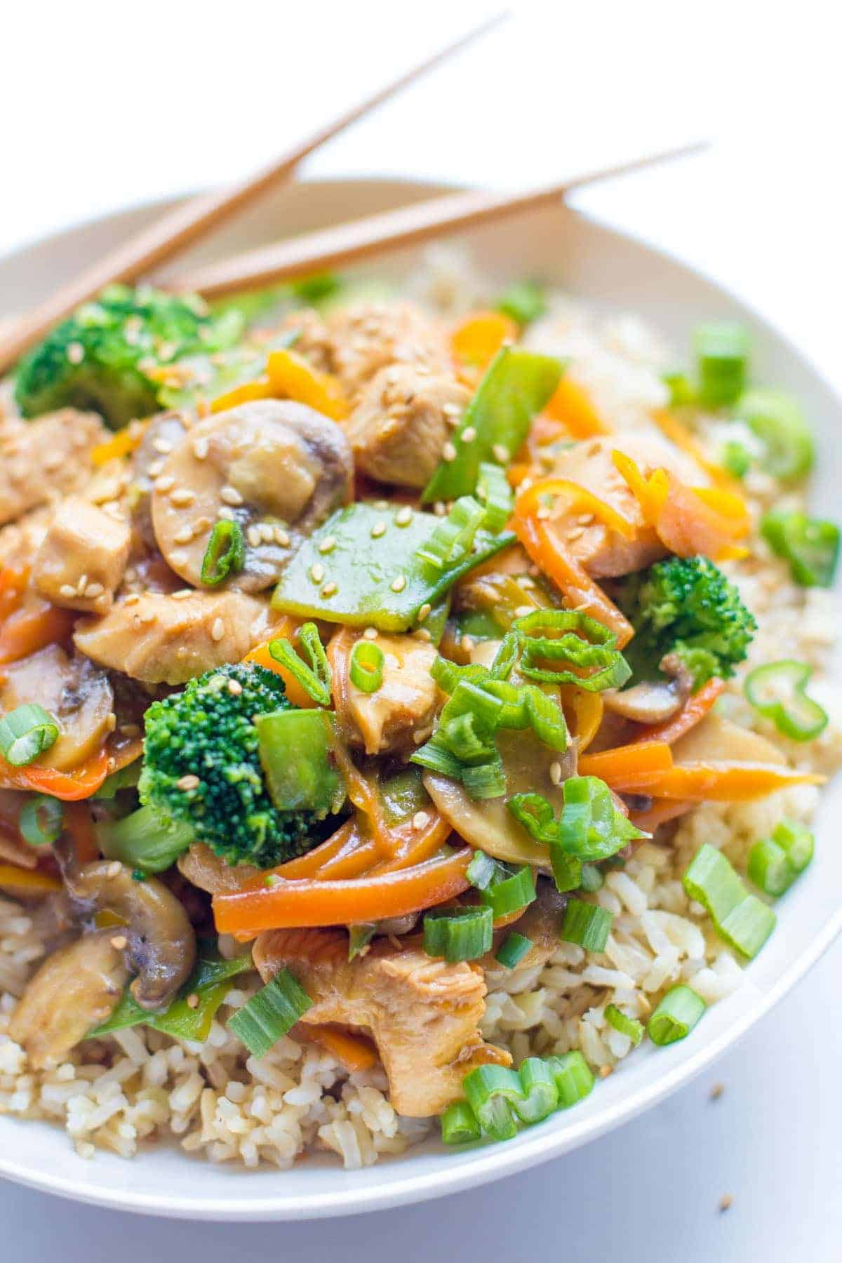 A close up shot of Healthy Chicken Stir Fry in a bowl.