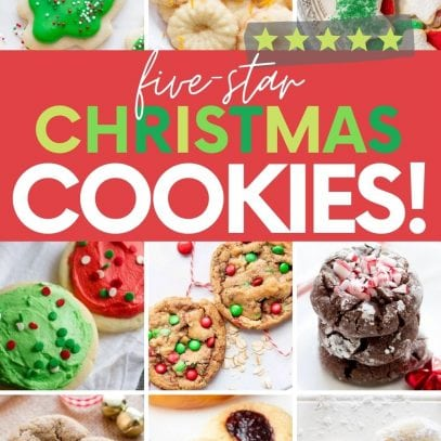 "Collage of nine unique and traditional Christmas cookies. A text overlay reads, ""Five-Star Christmas Cookies!"""